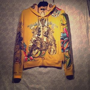 Gold Christian Audigier Zip Up Hoodie USED